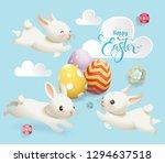 happy easter cute bunny egg...   Shutterstock . vector #1294637518