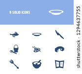 kitchen icon set and fish with...
