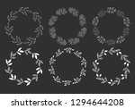 set of hand drawn floral wreath.... | Shutterstock .eps vector #1294644208