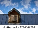 wooden window with shutters. a... | Shutterstock . vector #1294644928