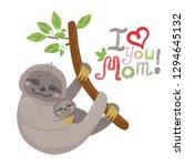 vector cute cartoon mother... | Shutterstock .eps vector #1294645132