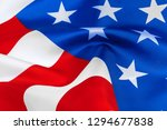 close up of waving american flag | Shutterstock . vector #1294677838