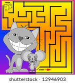 Cat and Mouse Maze, vector. - stock vector