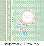 retro floral greeting card... | Shutterstock . vector #129470972