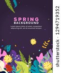 spring background with leaves ... | Shutterstock .eps vector #1294719352