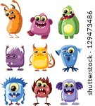 cartoon cute monsters   Shutterstock .eps vector #129473486