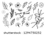 a large set of leaves  flowers  ... | Shutterstock .eps vector #1294750252