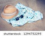 vintage summer wicker straw...   Shutterstock . vector #1294752295