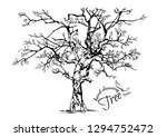 hand drawn tree isolated on... | Shutterstock .eps vector #1294752472