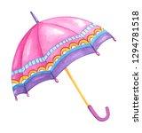 Hand Drawn Watercolor Umbrella...