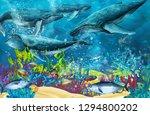 cartoon scene with whale near... | Shutterstock . vector #1294800202