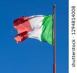 italian flag waving in the wind ...   Shutterstock . vector #1294814008