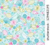seashells line art seamless... | Shutterstock . vector #129482195