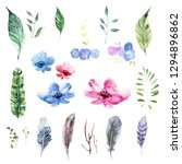 set of watercolor feathers... | Shutterstock . vector #1294896862