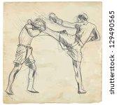 muay thai  combat martial art...   Shutterstock .eps vector #129490565