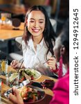 dinner with friends. beaming... | Shutterstock . vector #1294912645