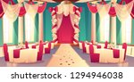 Stock vector banquet hall ballroom in castle ready for wedding ceremony cartoon vector interior decorated 1294946038