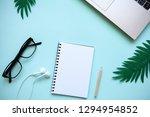 workspace in a trendy blue...   Shutterstock . vector #1294954852