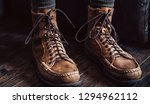 leather moccasin boots | Shutterstock . vector #1294962112