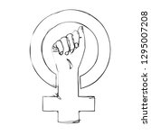 sketched feminism protest sign. ... | Shutterstock .eps vector #1295007208