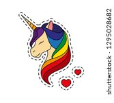 unicorn with closed eyes.... | Shutterstock .eps vector #1295028682
