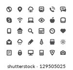 Stock vector  media communication minimalistic simple icons 129505025