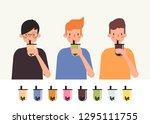 young man drink bubble milk tea.... | Shutterstock .eps vector #1295111755