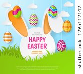 happy easter background.... | Shutterstock .eps vector #1295112142