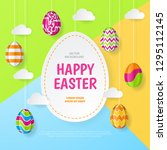 happy easter background.... | Shutterstock .eps vector #1295112145