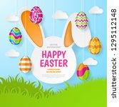 happy easter background.... | Shutterstock .eps vector #1295112148