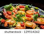 Closeup Of Shrimps On Pan With...