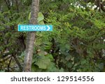 blue sign pointing way in... | Shutterstock . vector #129514556