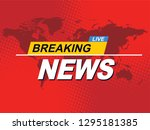 breaking news with world map...   Shutterstock .eps vector #1295181385