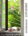 summer breakfast in farmhouse ...   Shutterstock . vector #1295182885