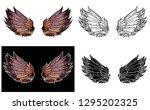 vintage vector hand drawn wing... | Shutterstock .eps vector #1295202325