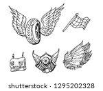 vintage wheel of motorcycle... | Shutterstock .eps vector #1295202328