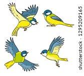 set of cartoon titmouse... | Shutterstock .eps vector #1295209165