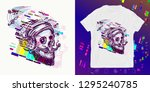 human skull glitch. print for t ... | Shutterstock .eps vector #1295240785