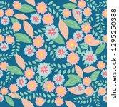 blue and pink flower seamless... | Shutterstock .eps vector #1295250388