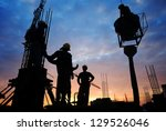silhouette of construction... | Shutterstock . vector #129526046