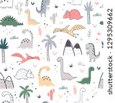 cartoon seamless pattern with... | Shutterstock .eps vector #1295309662
