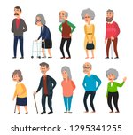old cartoon seniors. aged... | Shutterstock .eps vector #1295341255