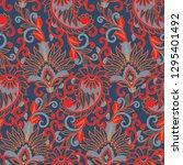 paisley ethnic seamless pattern ... | Shutterstock . vector #1295401492