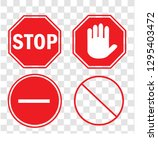 set stop sign vector stop... | Shutterstock .eps vector #1295403472
