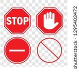 set stop sign vector stop... | Shutterstock .eps vector #1295403472