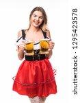 happy beautiful bavarian... | Shutterstock . vector #1295423578