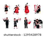 children play music instrument... | Shutterstock .eps vector #1295428978