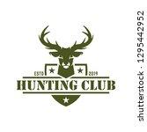 hunting logo deer hunting stamp | Shutterstock .eps vector #1295442952