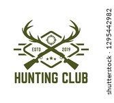 hunting logo deer hunting stamp | Shutterstock .eps vector #1295442982