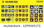 set of usa road sign.  motorist ... | Shutterstock .eps vector #1295445172